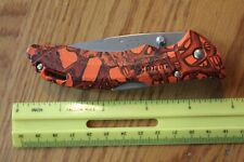 Orange Camo BUCK USA Folding pocket knife Buck head Antler Camouflage design