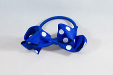 Unit of 10 Medium 3 Inch Royal Blue / White spots Hair Bows elastics Grosgrain