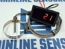 """Exhaust Gas Temperature Gauge Kit 1/8"""" NPT, EGT. 2 Meter Sensor Clamp 40 - 63mm"""