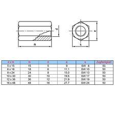 Sechskantmuttern 3 D hoch DIN 6334 A2 M 5