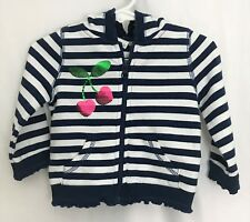 The Children's Place Hoodie Girl Zip Closure With Navy Stripes Sz 6-9 MON NWT