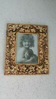 GOLD SCROLLED FLOWERS METAL PICTURE FRAME  5X7