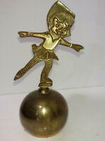 Vintage Brass Metal Bell Skater Figurine