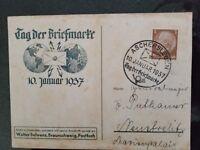 1937 Aschersleben GermanyPostcard Stamp Day Tag Der Briefmarke Cover