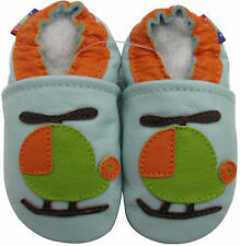 carozoo helicopter light blue 4-5y soft sole leather toddler shoes
