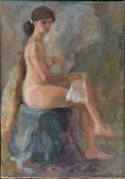 """Russischer Realist Expressionist Öl Leinwand """"Akt"""" 78 x 56 cm"""