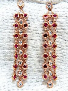 3.00ct natural deep red ruby diamond by yard dangle earrings 14kt.+