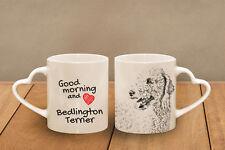 "Bedlington Terrier - ceramic cup, mug ""Good morning and love, heart"", Usa"