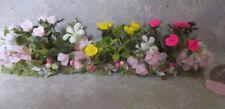 "TINY TINY 5 1/2"" x 1 1/4"" miniature doll/dollhouse polymer roses/silk azaleas"