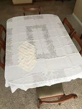 """Vtg Lot 7 Irish Linen Cream Roses Tablecloth 52""""x66"""", 6 Cloth Napkins Set 14x14"""