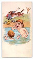Dog Steals Bathers Clothes Comic Victorian Trade Card *VT15