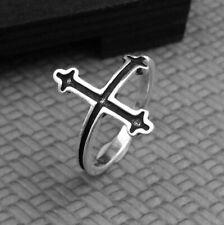 A06 Bague Argent 925 Croix avec Blanc Zircone Cristalline Taille Ajustable