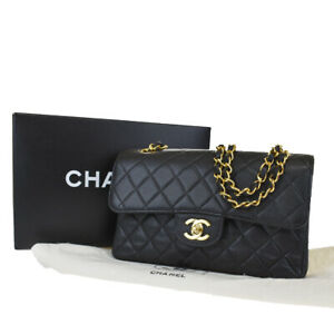 Auth CHANEL CC Logo Matelasse Chain Shoulder Bag Caviar Leather Black 175LB243