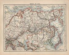 1897 Vittoriano MAP ~ La Russia in Asia ~ Siberia IMPERO CINESE GIAPPONE