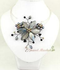 N12092318 grey shell black FW Baroque pearl choker flower necklace