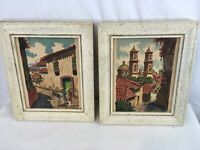 Lot of 2 Matching Wood Frame Euro Spain Portugal Watercolor Wall Hang Artwork