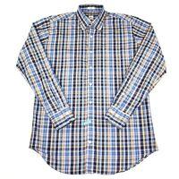 Peter Millar Mens Button Down Shirt Size Medium M 100% Cotton Plaid Blue Pink