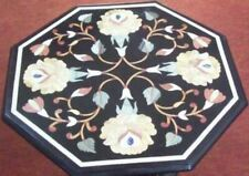 "18"" Black Marble  Dining Center Table Top Inlay Pietradure Mosaic item"