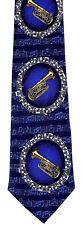 Tuba Blues Mens Necktie Music Neck Tie Brass Tubas Musical Instrument Gift New