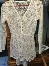 Dress or top, white lace, short front longer in the back,  long sleeves, S Small