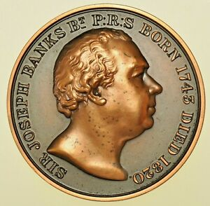 ROYAL HORTICULTURAL SOCIETY, SIR JOSEPH BANKS, 39mm BRONZE MEDAL 1950, CASED UNC