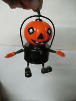 Vintage Halloween Celluloid JOL PUMPKIN w ARMS & LEGS Battery Operated Lantern