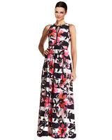 VINCE CAMUTO KEYHOLE FLORAL STRIPE MAXI DRESS PINK/NAVY/WHITE SIZE 14