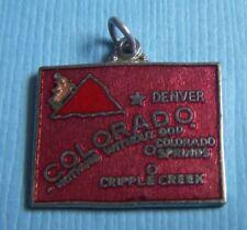 map silver tone charm Vintage enamel Colorado state