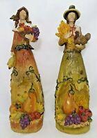 "Pilgrim Couple Figurines Resin Thanksgiving Fall Harvest 17""H x 5""W Tabletop New"