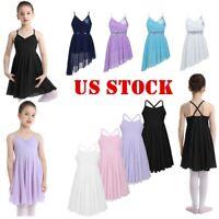 US Kid Girls Ballet Dress Lyrical Dance Leotard Sequins Dancewear Sports Costume