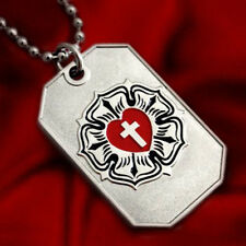 LUTHER ROSE CROSS LUTHERAN CHURCH SYMBOL PENDANT NECKLACE DOG-TAG BALL CHAIN