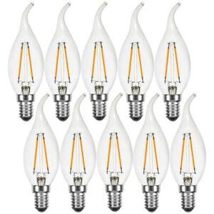 10 x LED Filament Kerze Windstoß 2W wie 25W klar E14 220lm Glühbirne B35 UVP 39€