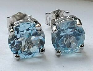 2 Ct Sky Blue Topaz Round Stud Earrings Set in Platinum Overlay Sterling Silver
