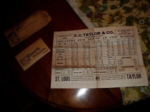 Vintage 1911 FC Taylor Trapping mailer, tags, etc