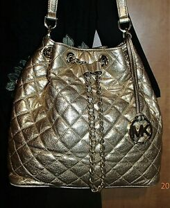Michael Kors Frankie Quilted Shiny Metallic GOLD Leather Crossbody Bag Purse