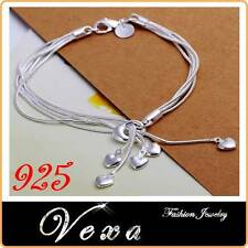 New 925 Sterling Silver Heart Double Bracelet Charm Bangle Ladies Womens UK BS07