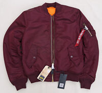 ALPHA INDUSTRIES MA1 Slim Flight Jacket Bomber Pilot Reversible Maroon Men M