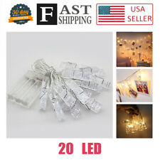 20 Photo Clips LED String light Room Decor Warm White Battery Hanging Photos