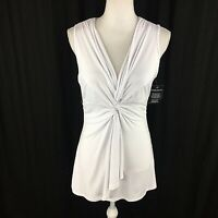 Boston Proper Womens White Knot Front Drape Sleeveless Top Blouse S Small Ruched