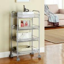 4 Tier Shelf Shelves Rolling Kitchen Pantry Storage Utility Cart Holder Silver