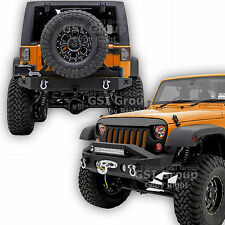Front Bumper+Rear Bumper+Tire Carrier+X cutout Combo For 07-17 Jeep JK Wrangler