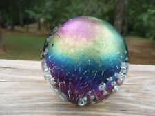 """1992 GES Glass Eye Studio Iridescent Dichroic 2.75"""" PAPERWEIGHT w/Bubbles EC NR"""