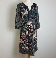 Per Una Midi Dress UK 10 Black Floral 3/4 Sleeve Fit Flare