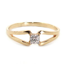 GENUINE NATURAL DIAMOND SOLID 10K YELLOW WHITE GOLD RING