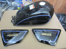 Suzuki GN125   Petrol Tank and Side panels black   UK Seller   read discription