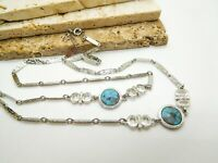 Vintage Sarah Coventry Silver Tone Chain Faux Turquoise Southwest Necklace AA9
