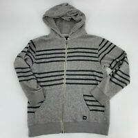 Quicksilver Youth Boys Size Large 14 Zip Up Hoodie Hooded Sweatshirt Jacket Gray