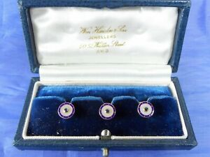 VINTAGE 1992 9CT GOLD, ENAMEL, SAPPHIRE & M OF PEARL DRESS STUDS BOXED BY CAF
