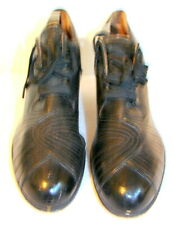 Vintage 1920s-30s Womens Black Smooth Leather Tie Shoes