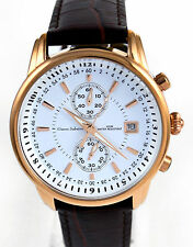 Gianni Sabatini Mens 10 ATM W/R Chronograph Watch Date Brown Real Leather Strap